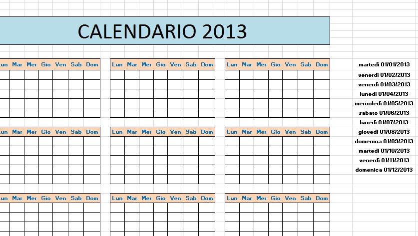 ... easy Excel facile: Come fare un calendario con EXCEL 2015, come