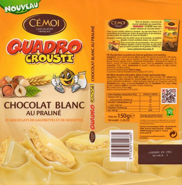 tablette de chocolat blanc gourmand cémoi quadro crousti blanc praliné aux eclats de gaufrettes et de noisettes