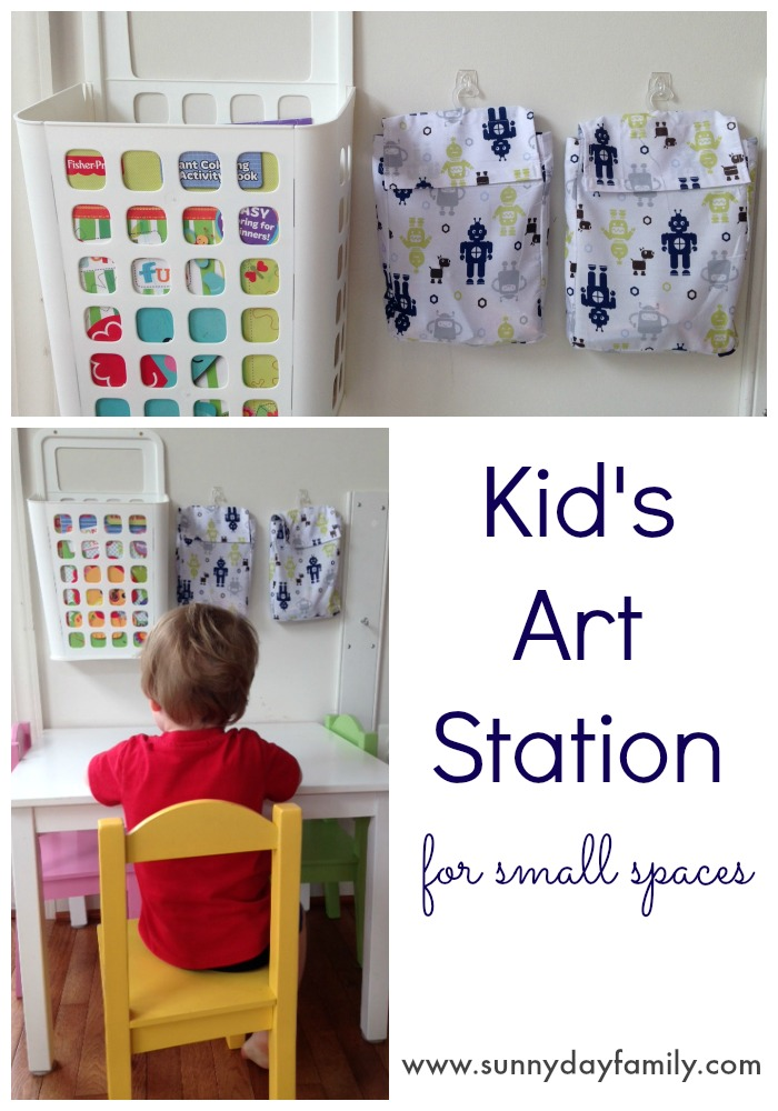 Kids art station for small spaces! Organize coloring supplies and coloring books in a cozy craft corner.