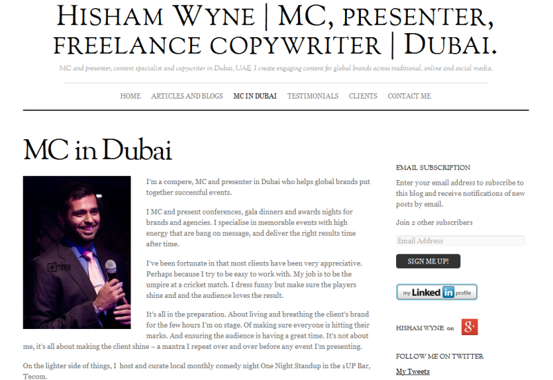 leading MC and freelance writer based in Dubai