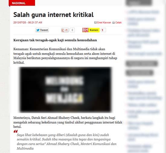 Penyalahgunaan internet kritikal