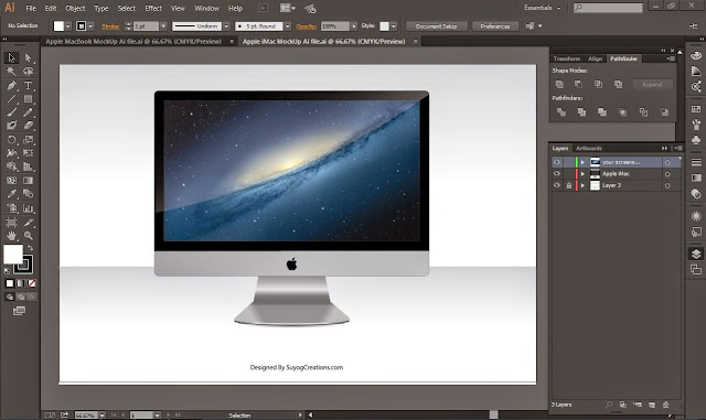 Free Download Apple iMac Mockup Ai and Psd File