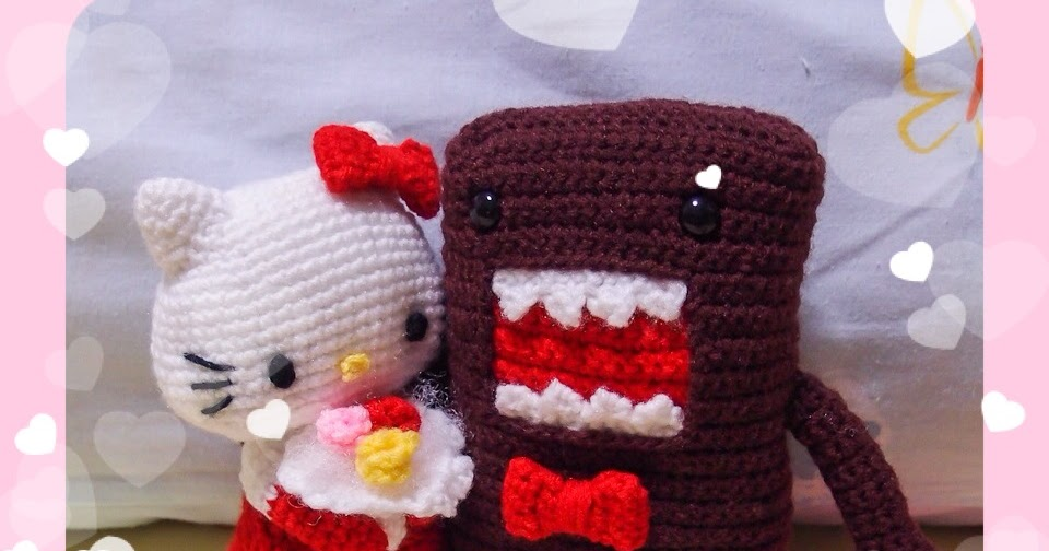 Amigurumi Free Patterns Hello Kitty : Domo groom & hello kitty bride amigurumis ~ snacksies handicraft corner