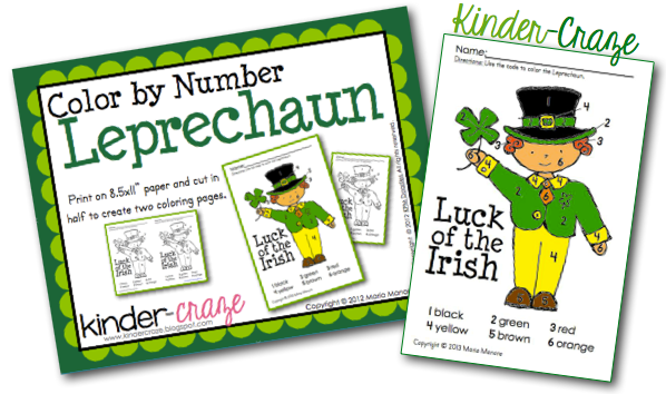 FREE color by number leprechaun from Kinder-Craze