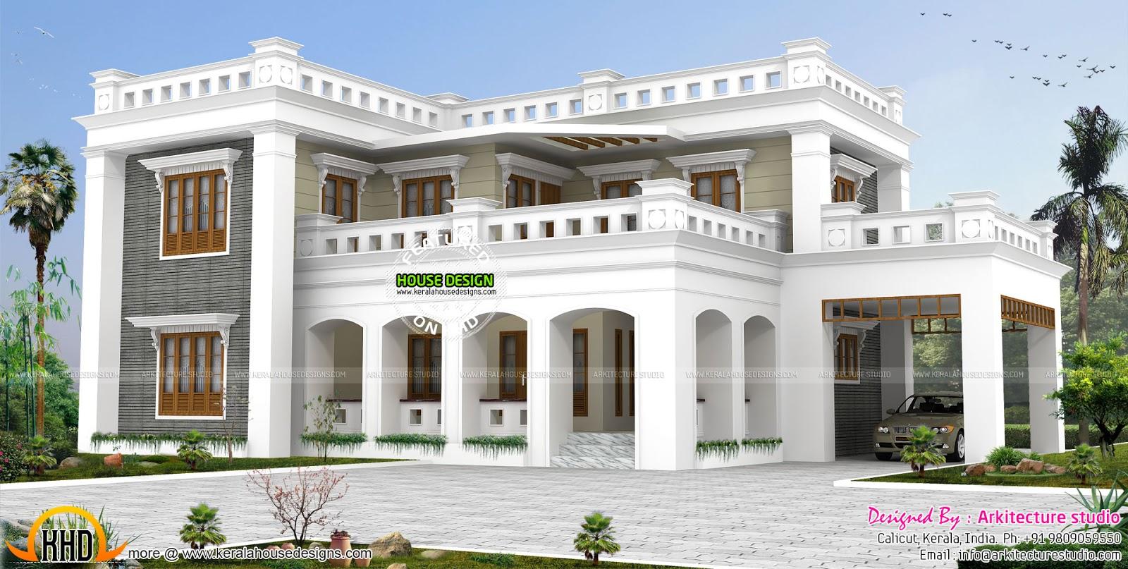 Decorative Flat Roof : Decorative style bhk flat roof home kerala design