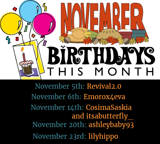 Nov Birthday List
