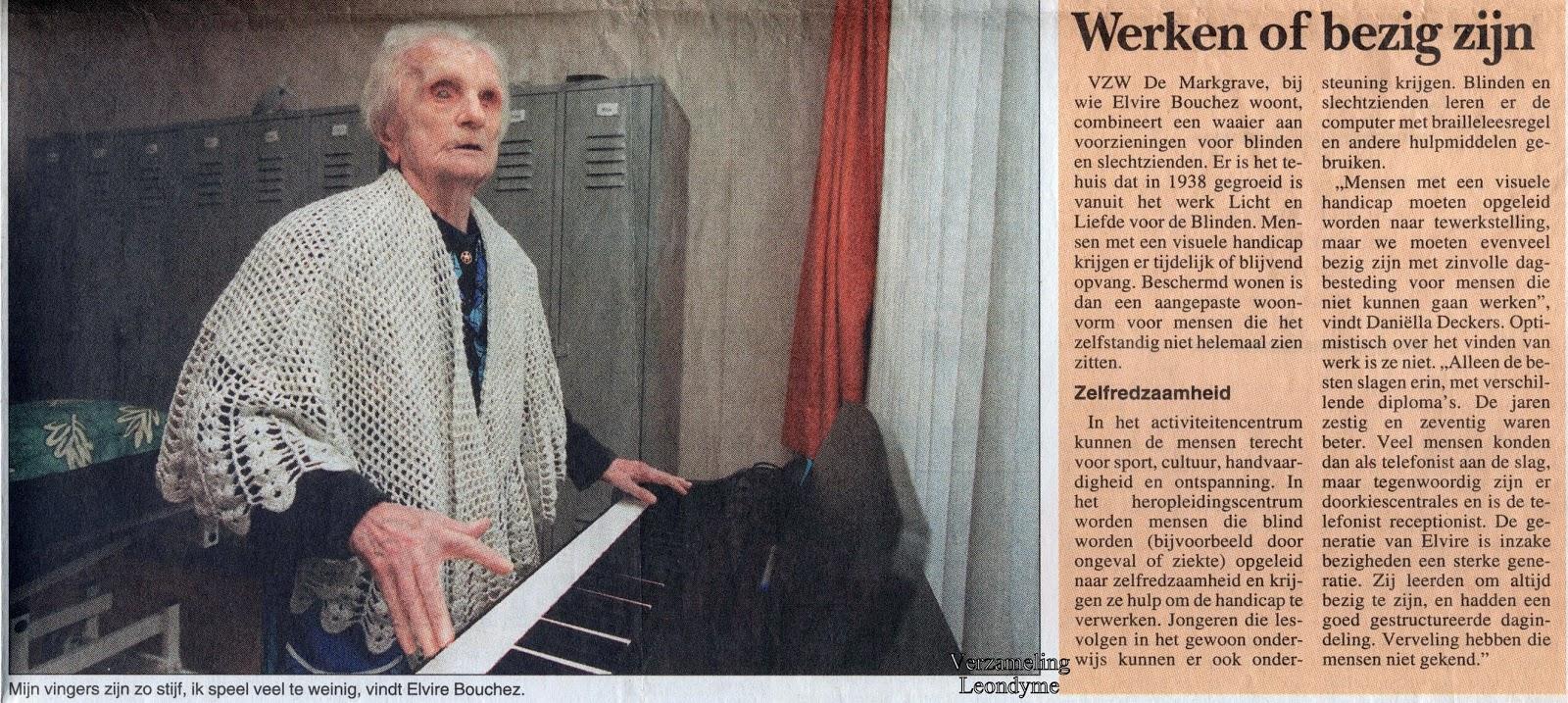 Elvire Bouchez, gevierd als honderdjarige. het Volk 18-02-1999