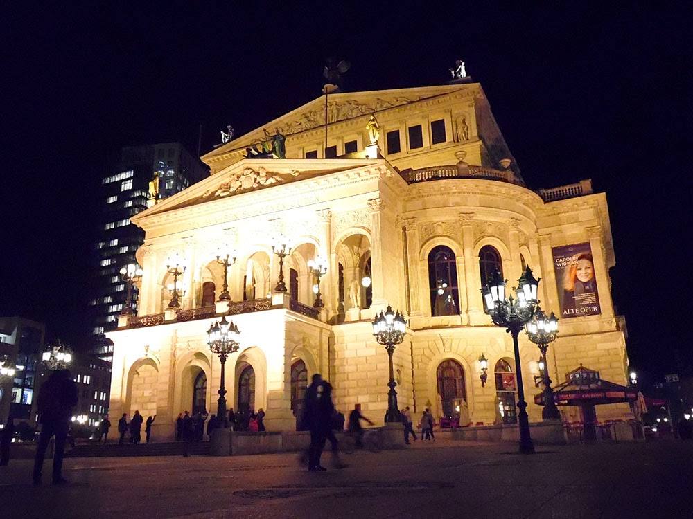 Frankfurt old opera house at night
