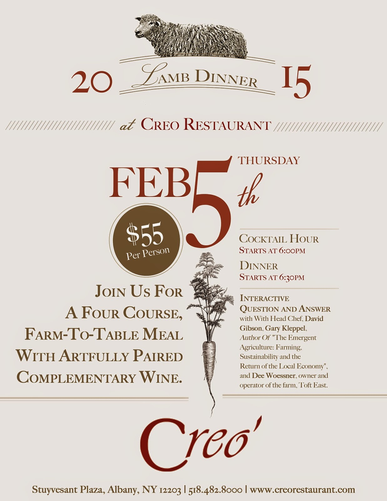 local farm raised and delicious creo to host lamb dinner next month