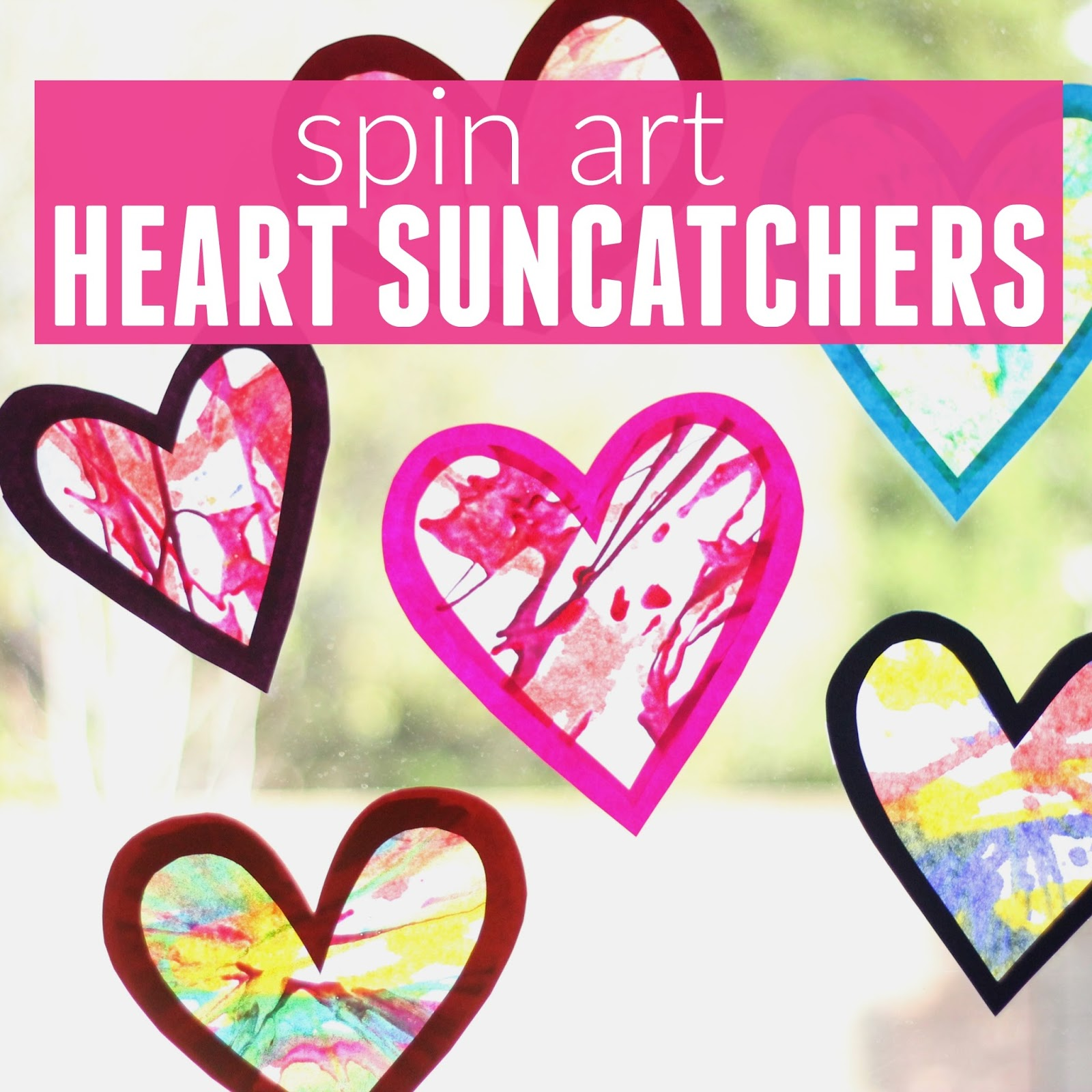 toddler approved spin art heart suncatchers