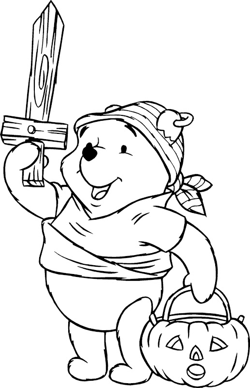 Pooh Pirate Costume of Halloween Day Coloring Pages title=