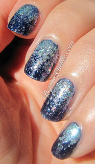 Blue / Silver Reverse Glitter Gradient Manicure perfect for New Year's Eve