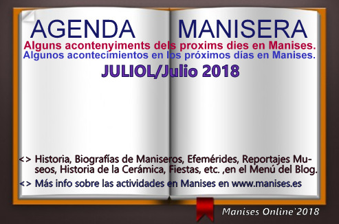 AGENDA MANISERA, JULIOL/JULIO 2018