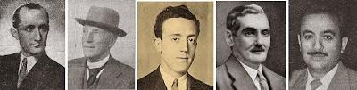 Los problemistas Joaquim Gil, Henri Rinck, Antonio F. Argüelles, Esteve Puig i Puig y E. Puig Ambrós