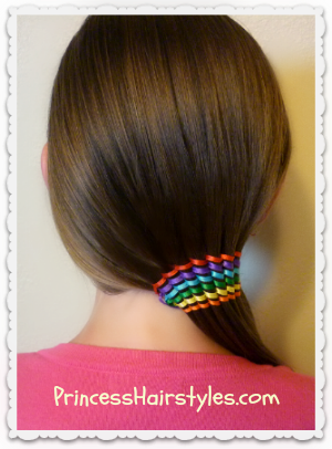 Waterfall Ribbon Twist Rainbow Hair Design