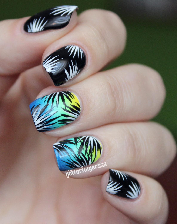 NAIL ART | Simple tropical ~ Glitterfingersss in english