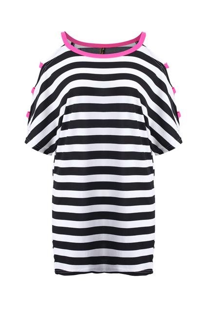 Cut-out Shoulder Striped T-shirt