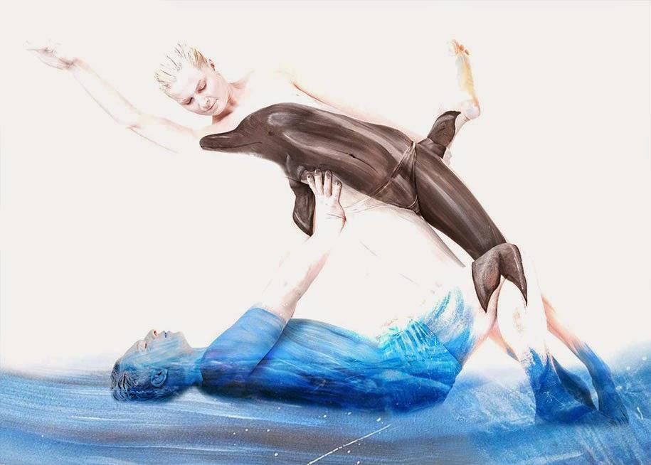 Lukisan Tubuh Manusia Merubah Orang Menjadi Ikan Lumba-Lumba