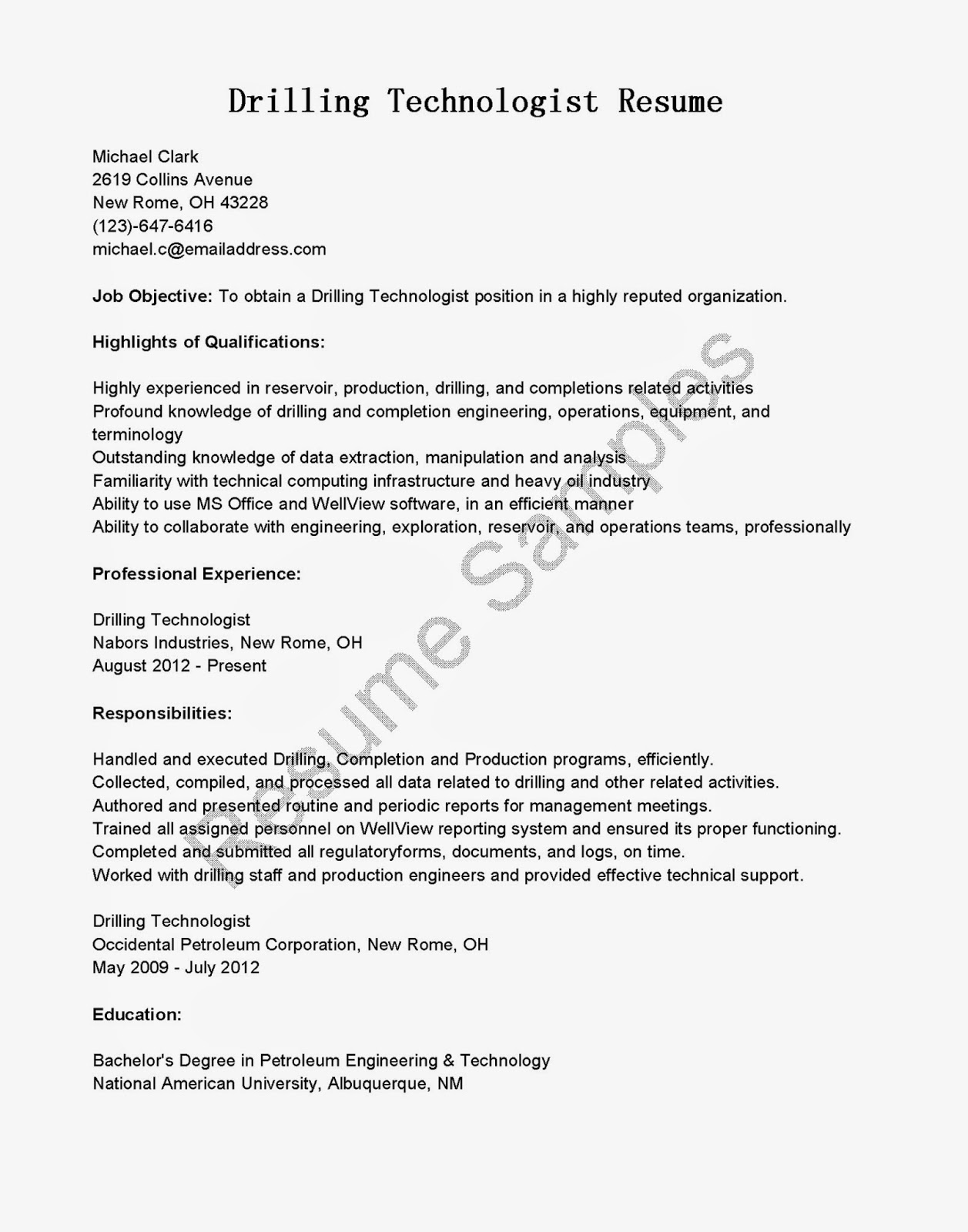 resume samples  drilling technologist resume sample