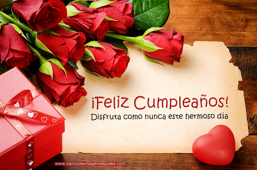 BANCO DE IMÁGENES GRATIS 30 tarjetas de cumpleaños con rosas rojas, mensajes y nombres de