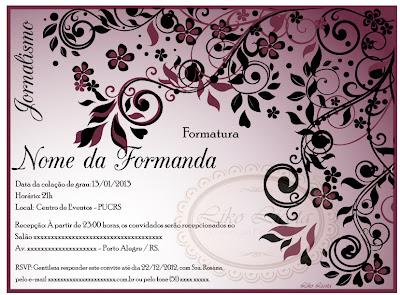 convite floral para formatura