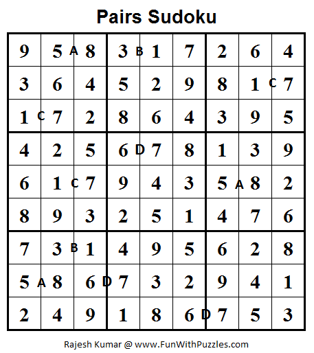 Pairs Sudoku (Fun With Sudoku #31) Solution