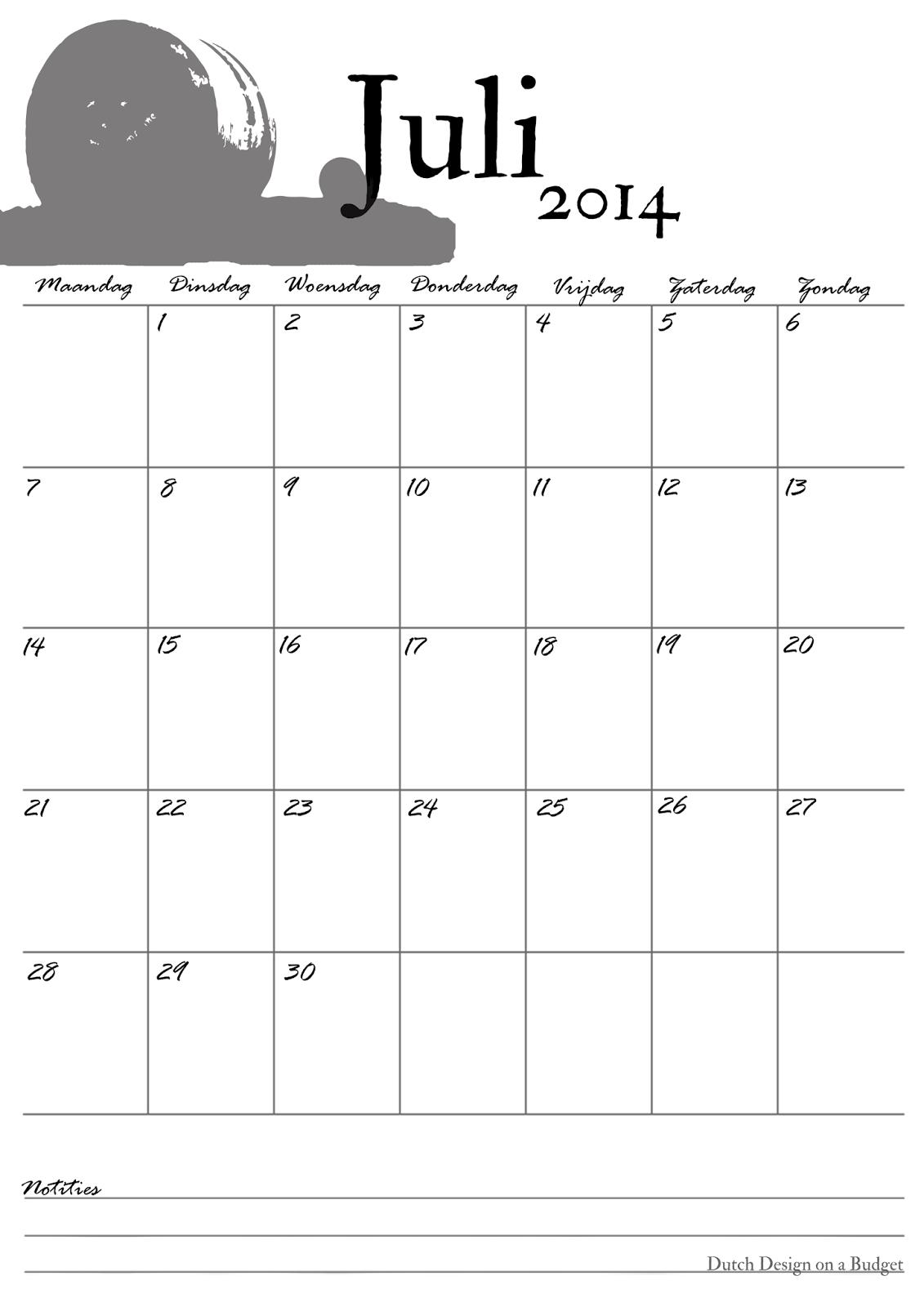 Dutch Design on a Budget: Kalender Juli!