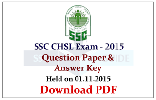 SSC CHSL 2015 Question Papers with Answer Key