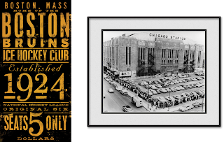 Boston Bruins NHL Vintage Graphic Art Poster / Chicago Blackhawks NHL Vintage Chicago Stadium Black & White Print