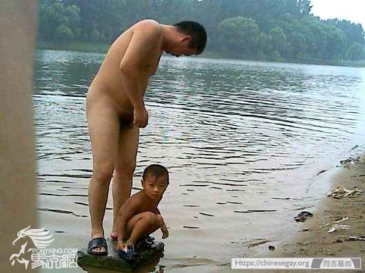 daddy and son bathing nude