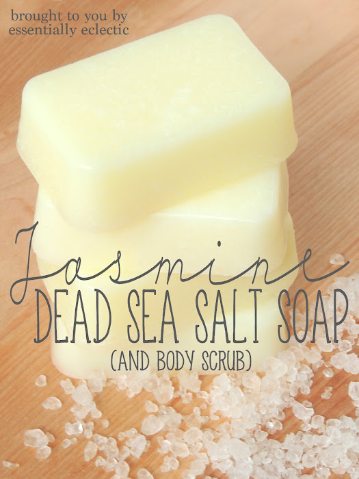Jasmine Dead Sea Salt Soap {And Body Scrub} | www.EssentiallyEclectic.com | This Dead Sea Salt Soap is great for the skin and is easy to make! Use the leftovers to make a luxurious body scrub.