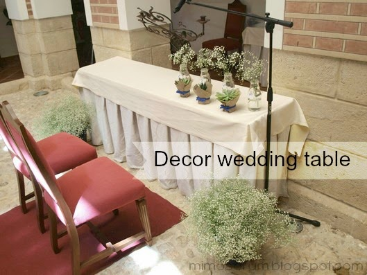 Decorar una ceremonia civil. Decor wedding table