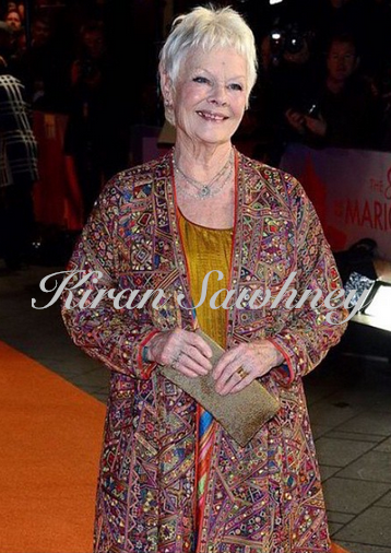 Dame Judi Dench in Abu Jani Sandeep Khosla for the London premiere