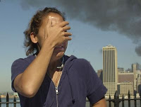 Woman grieving over 9-11 attacks on World Trade Center