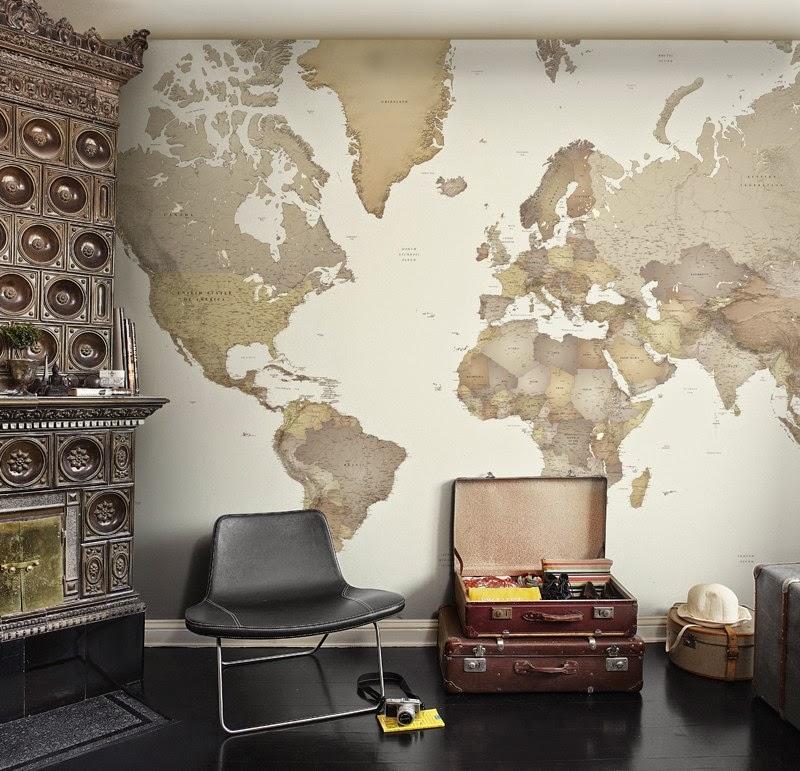 Decotips propuestas decorativas con mapas viajamos for Carta da parati cartina geografica