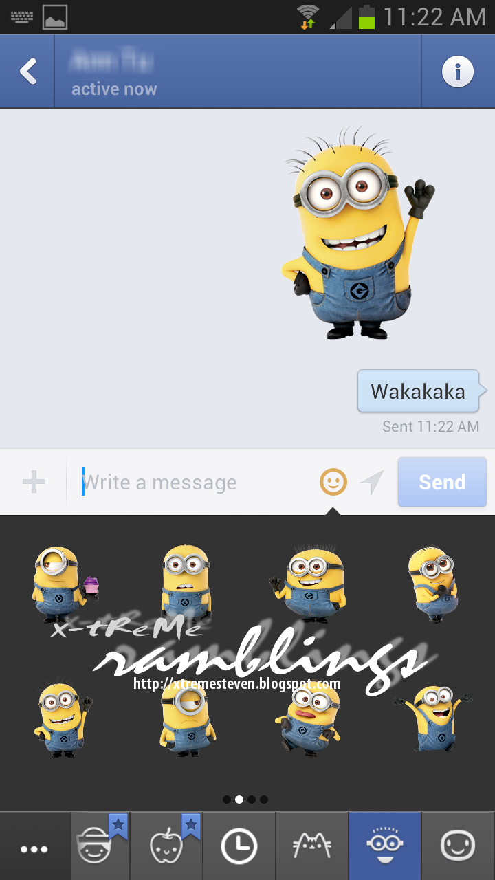 xtReMe Ramblings Despicable Me Stickers in Facebook