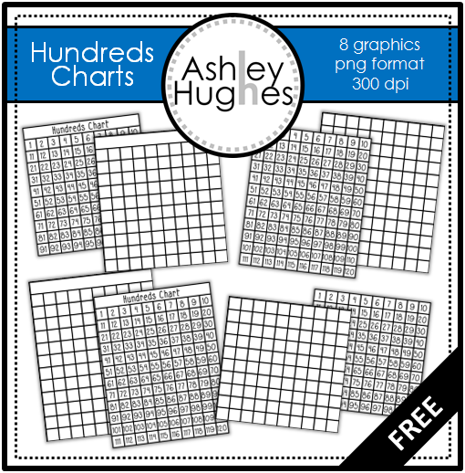 FREE Hundreds Chart Clipart from Ashley Hughes