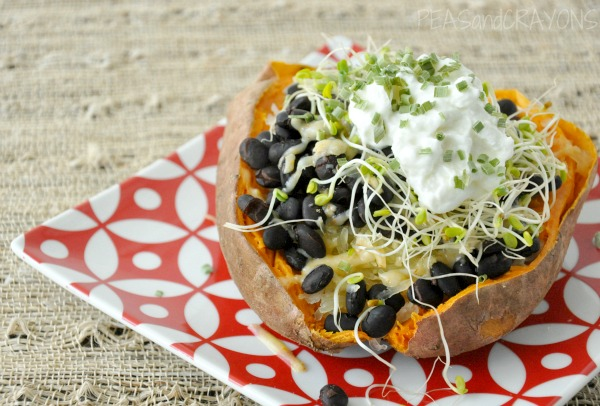 healthy spicy savory stuffed sweet potato black beans
