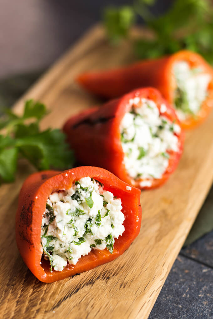 Feta-Stuffed Red Bell Pepper from Give Recipe. (Low-Carb, Gluten-Free ...
