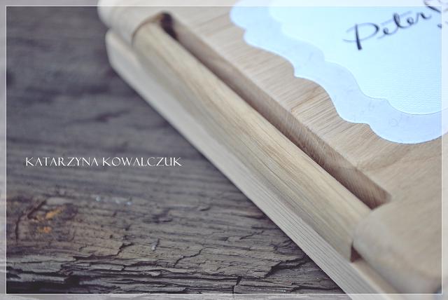 drewniany, dębowy folder na płytę CD