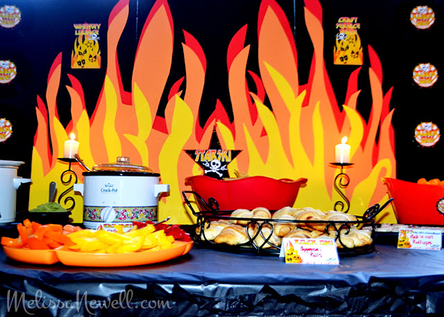 flames background, rock on rocker party decor, KISS style, rock n roll