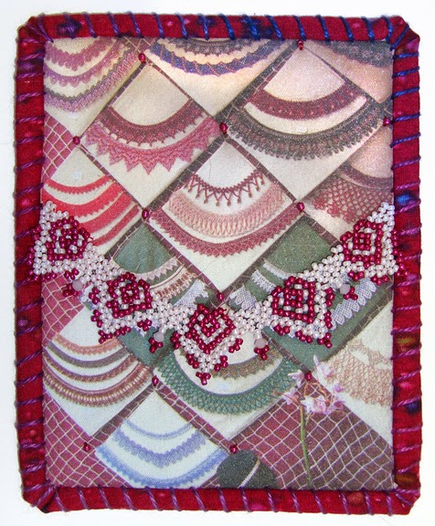 Robin Atkins, Travel Diary Quilt, detail, bead shop window display, Budapest, Hungary