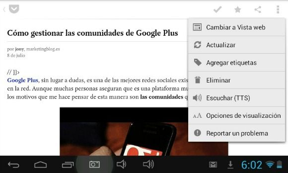 caracteristicas de pocket android y iOS
