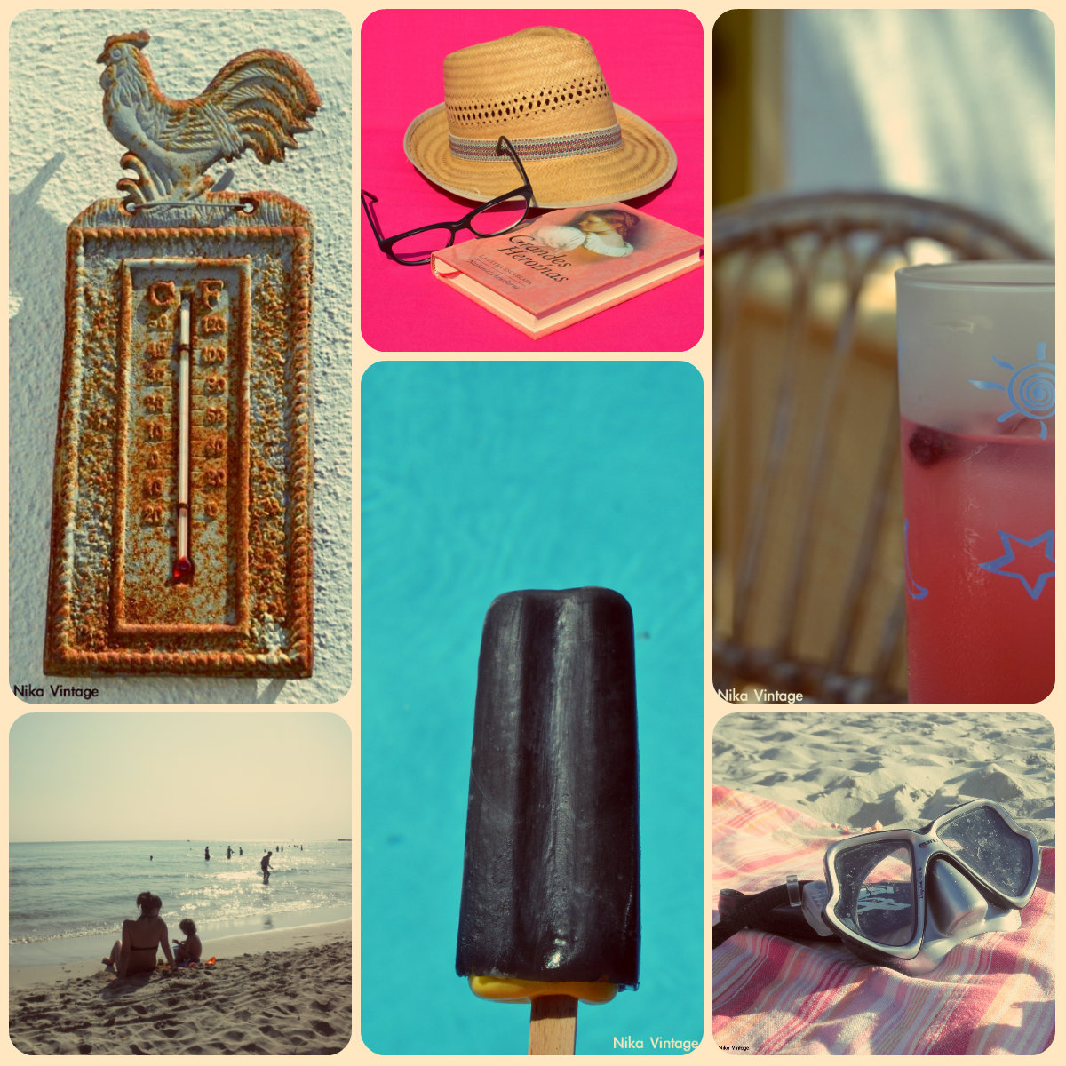 verano, fotografia, sombrillas, sombreros, refrescos,modboard, collages
