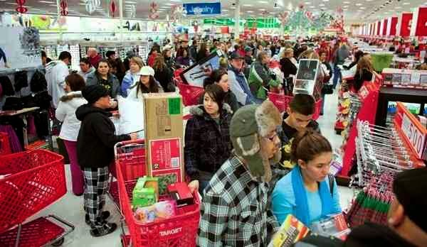 Customers in target store during black friday