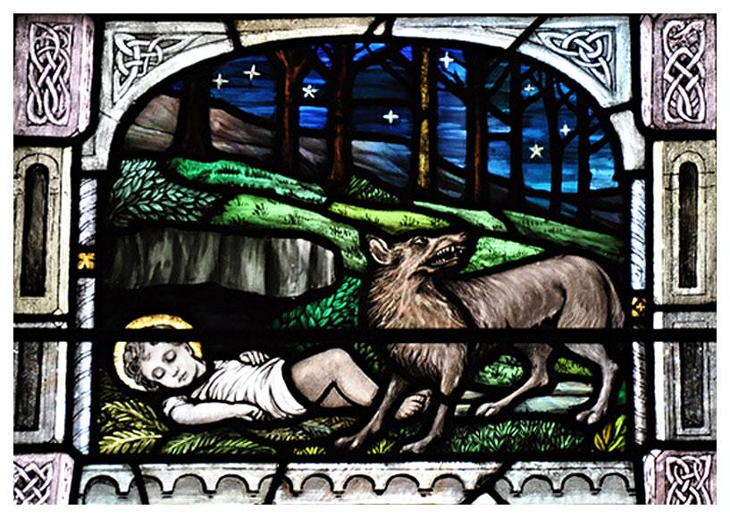 Ailbe og ulvetispen, glassmaleri