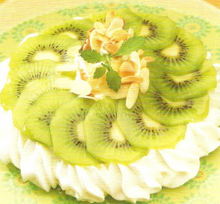 Kiwi and Toasted Almond Pavlova