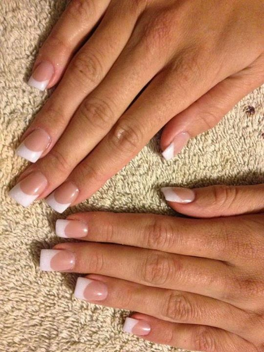 Glitter tip acrylics $30; French white acrylics $30; Shellac color tip acrylics $30