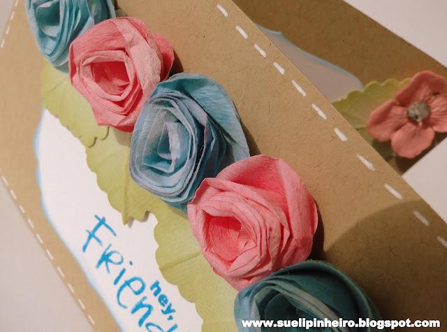 Tarjeta de flores hechas con filtro de café