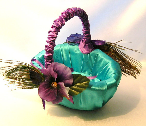 Peacocks and Pansies Flower Girl Basket
